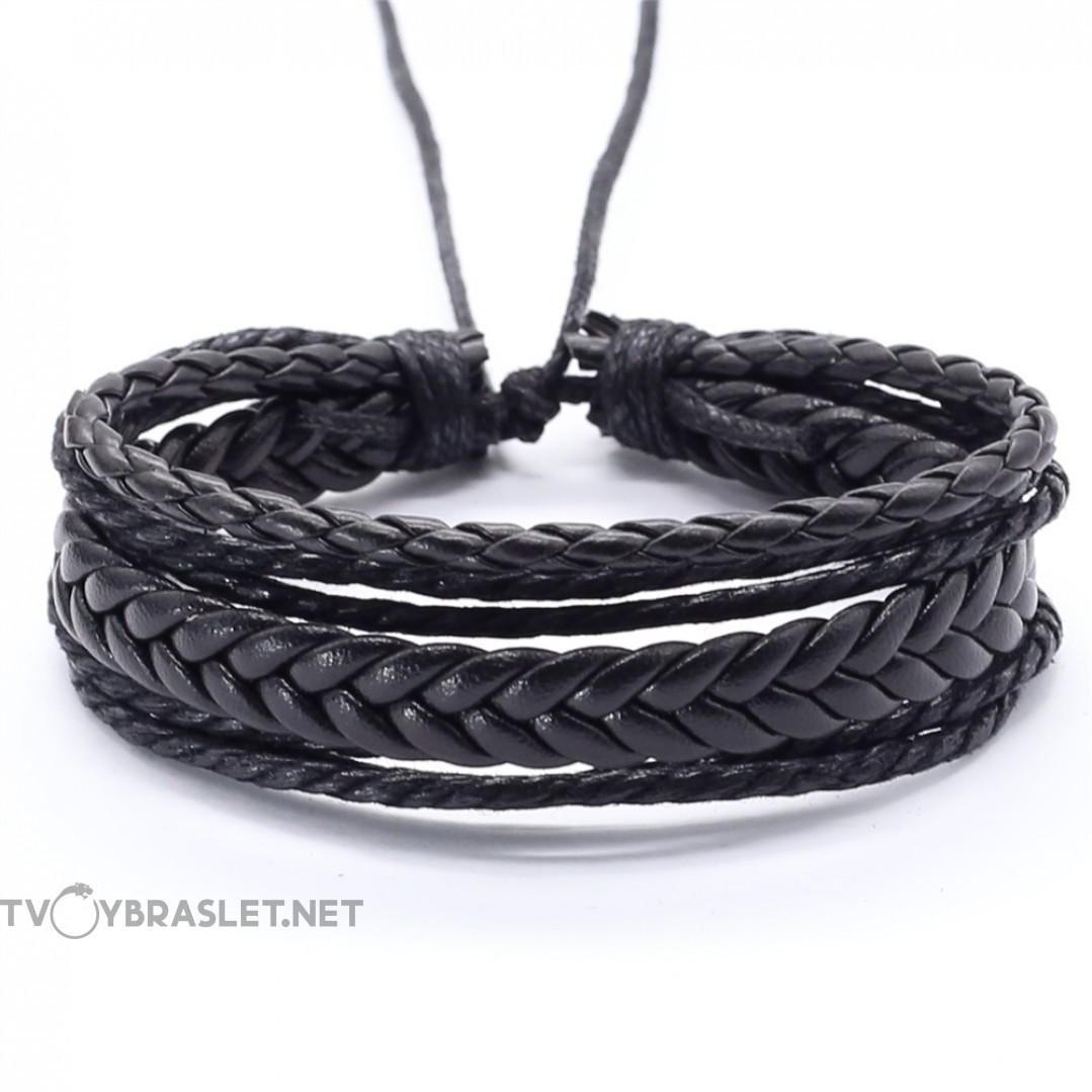 Браслет регулируемый многослойный черный Твой браслет LTH271