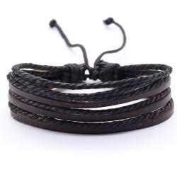 Браслет регулируемый многослойный коричневый с черным Твой браслет LTH272