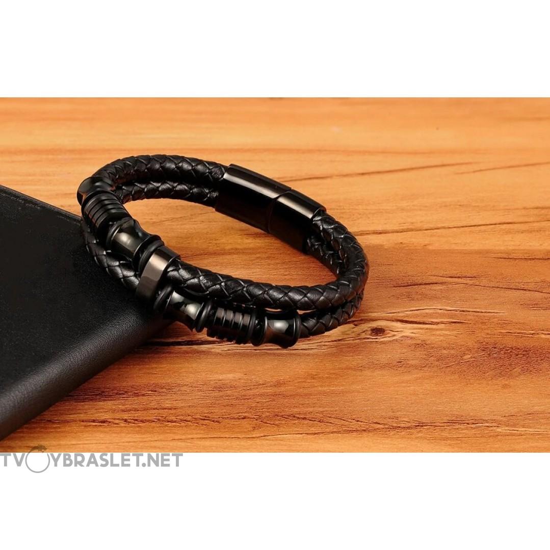 Браслет кожаный черный с магнитным замком Твой Браслет LTH274