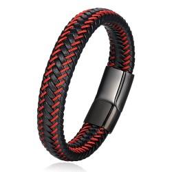 Браслет кожаный черный с красным магнитный замок Black Твой Браслет LTH275