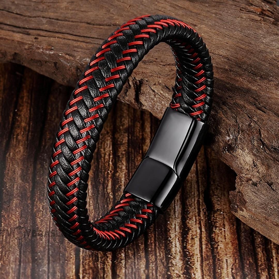 Браслет кожаный черный с красным магнитный замок Твой Браслет LTH275