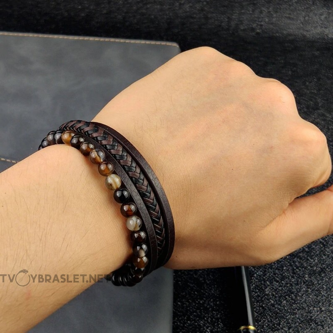 Браслет кожаный многослойный с натуральным камнем Твой Браслет LTH276