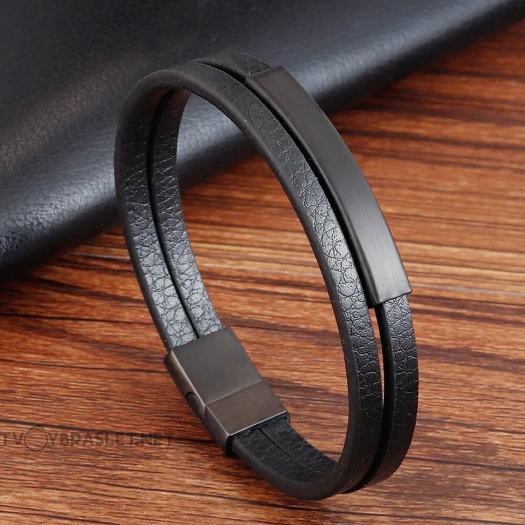 Браслет кожаный двухслойный черный Твой Браслет LTH280