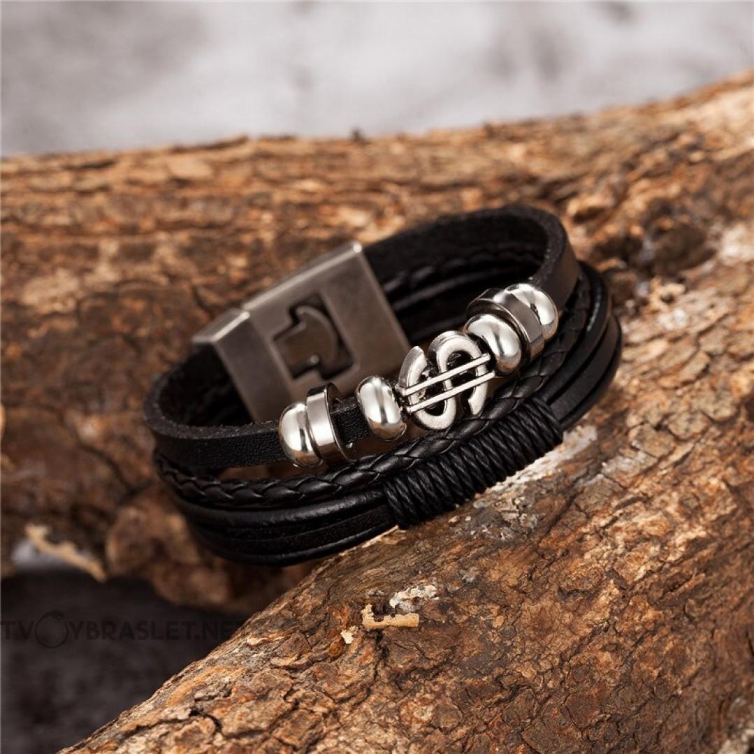 Браслет кожаный черный многослойный Доллар Твой Браслет LTH288