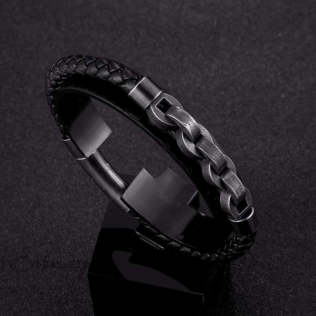 Браслет мужской кожаный с цепью магнитный замок Твой браслет LTH292