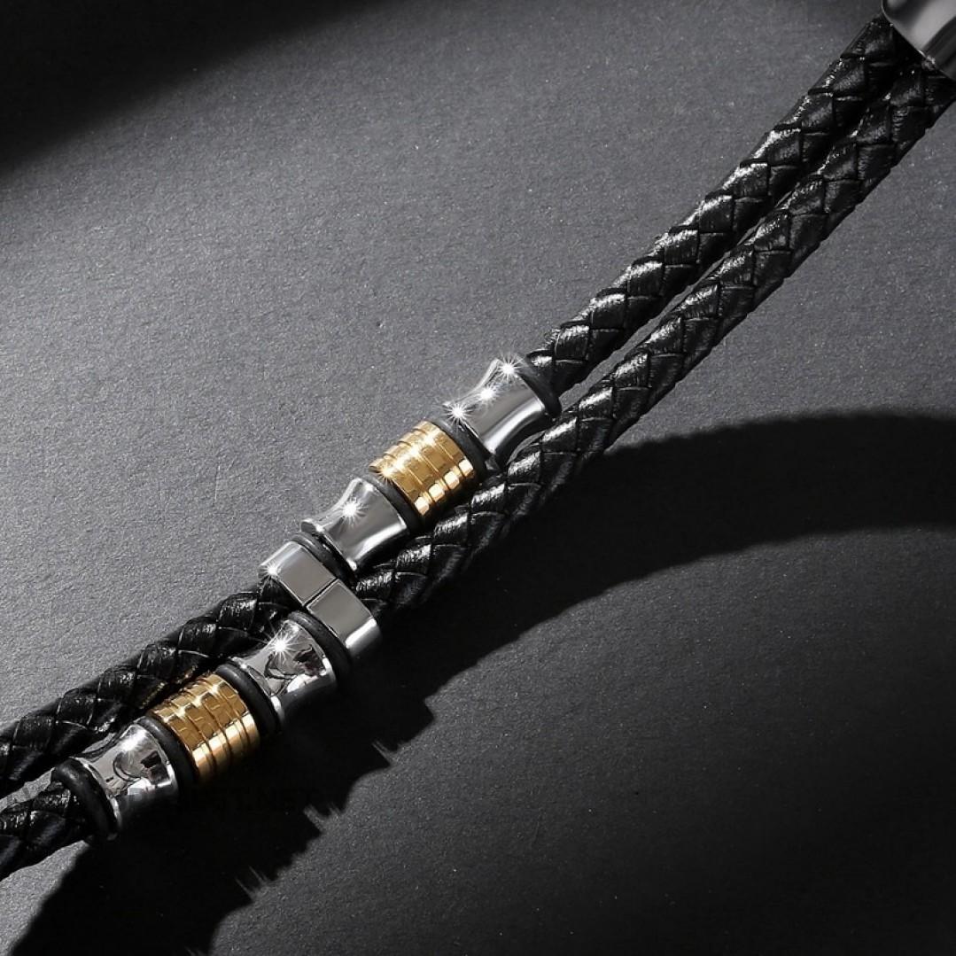 Браслет кожаный черный с магнитным замком Твой Браслет LTH299