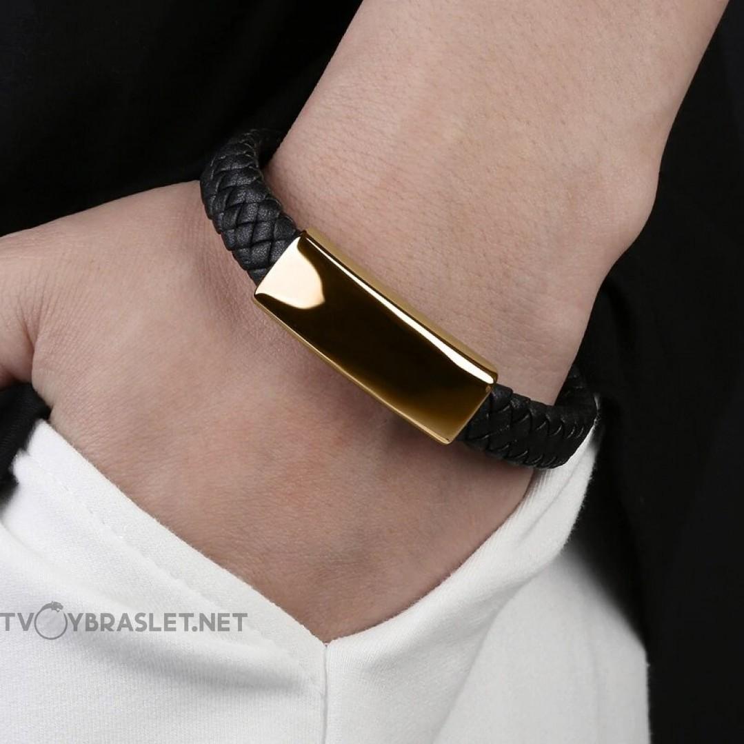 Браслет кожаный со стальной пряжкой черный Gold Твой Браслет LTH300