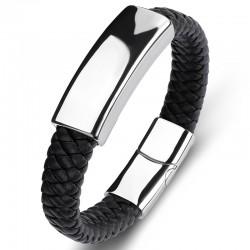Браслет кожаный со стальной пряжкой черный Silver Твой Браслет LTH301