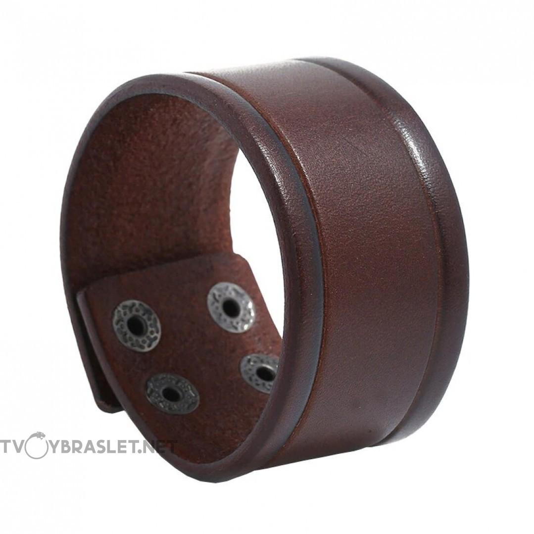 Браслет кожаный широкий на кнопках коричневый Твой Браслет LTH305