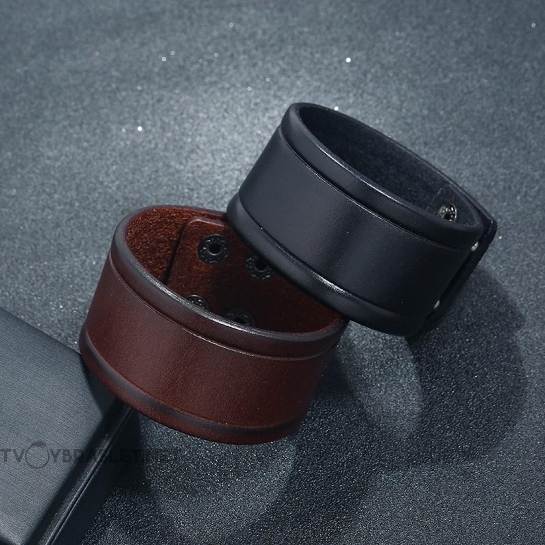 Браслет кожаный широкий на кнопках черный Твой Браслет LTH306