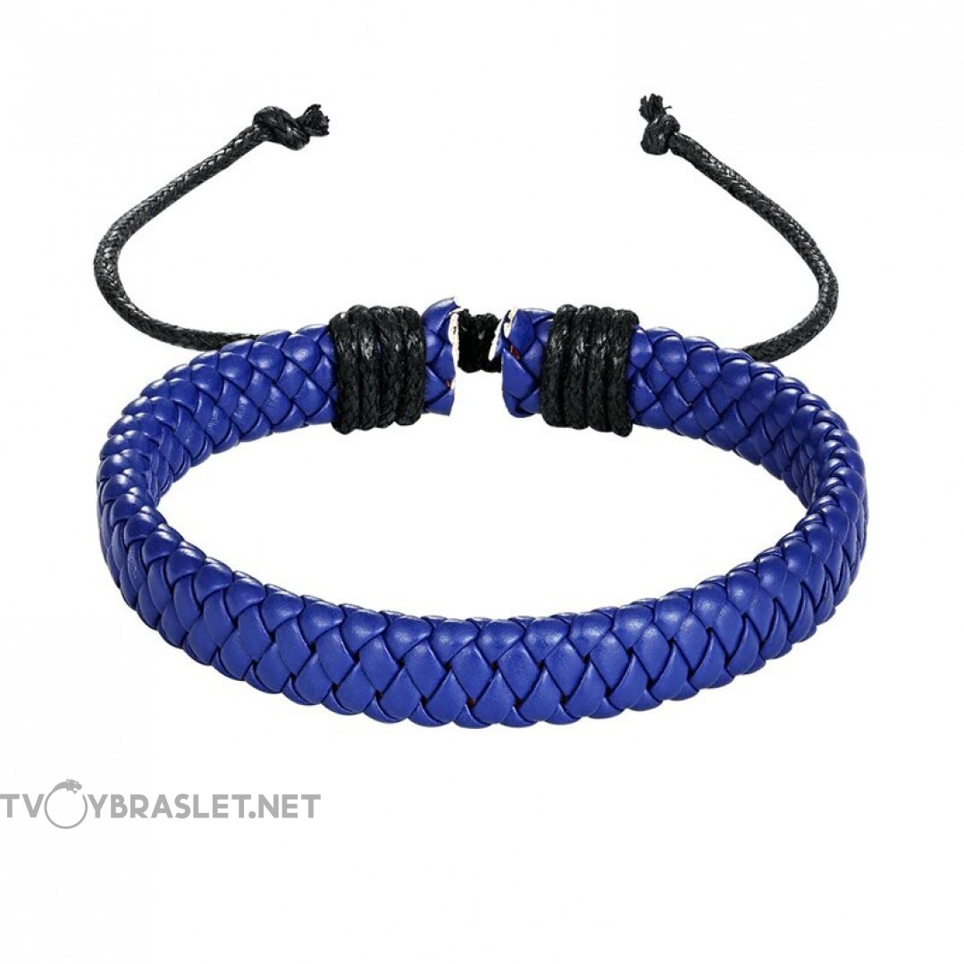 Браслет кожаный плетеный синий Твой Браслет LTH307