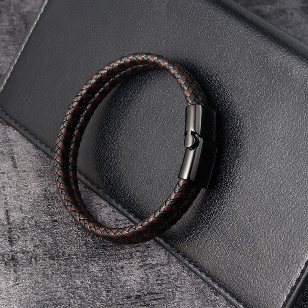 Браслет кожаный двухслойный коричневый с черным Твой Браслет LTH308