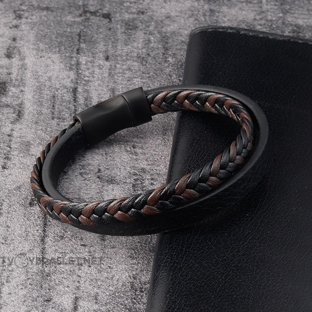 Браслет кожаный двухслойный черный с коричневым Твой Браслет LTH309