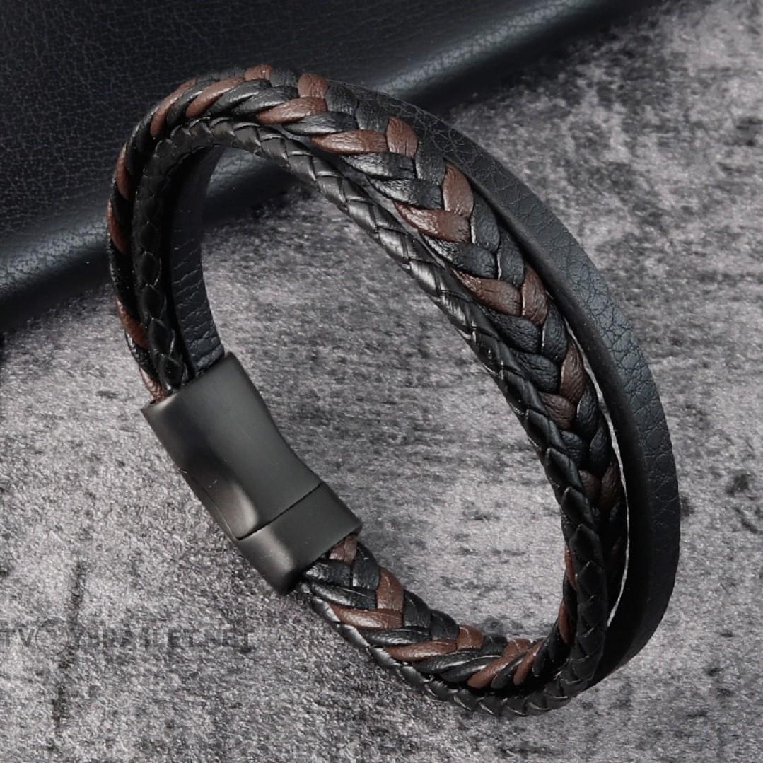 Браслет кожаный трехслойный черный с коричневым Твой Браслет LTH310