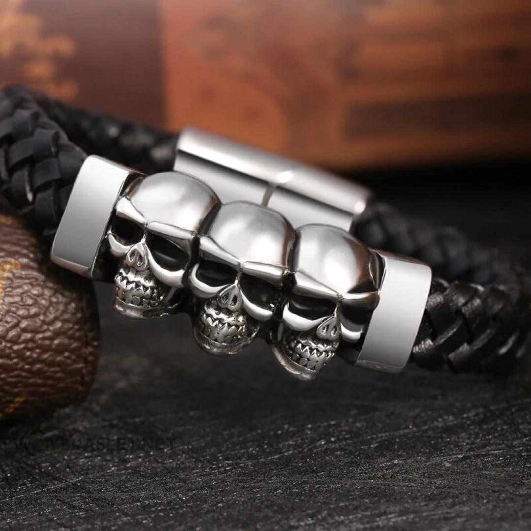 Браслет кожаный с черепами магнитный стальной замок Твой Браслет LTH311