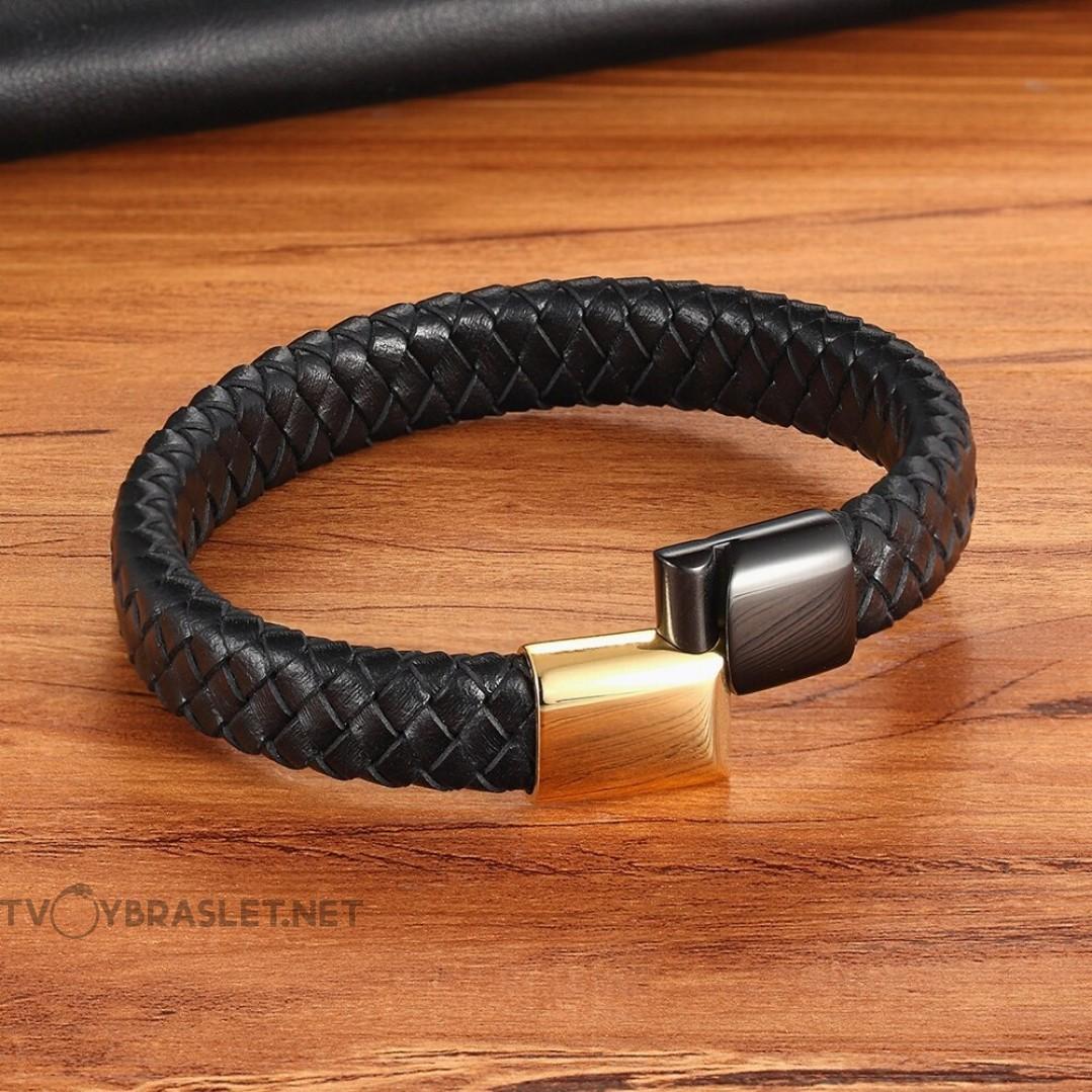 Браслет кожаный с двухцветным магнитным стальным замком Твой Браслет LTH312
