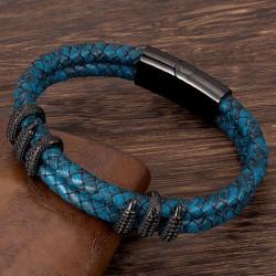 Браслет из кожи с когтями дракона синий Black Твой Браслет LTH316