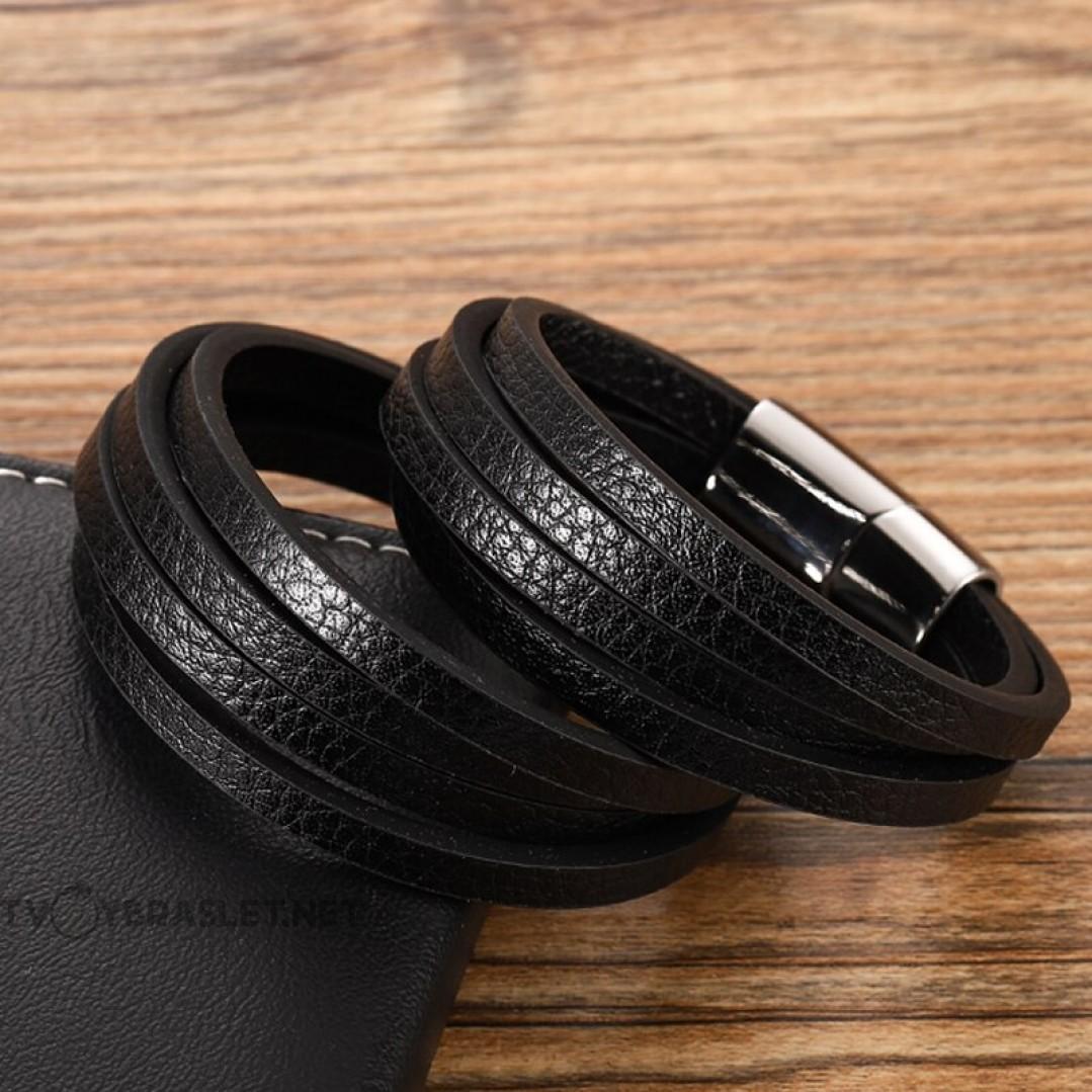 Браслет кожаный многослойный черный с магнитным замком Black Твой Браслет LTH317