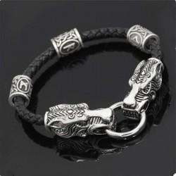 Браслет кожаный Кольцо Дракона с рунами Твой Браслет LTH318