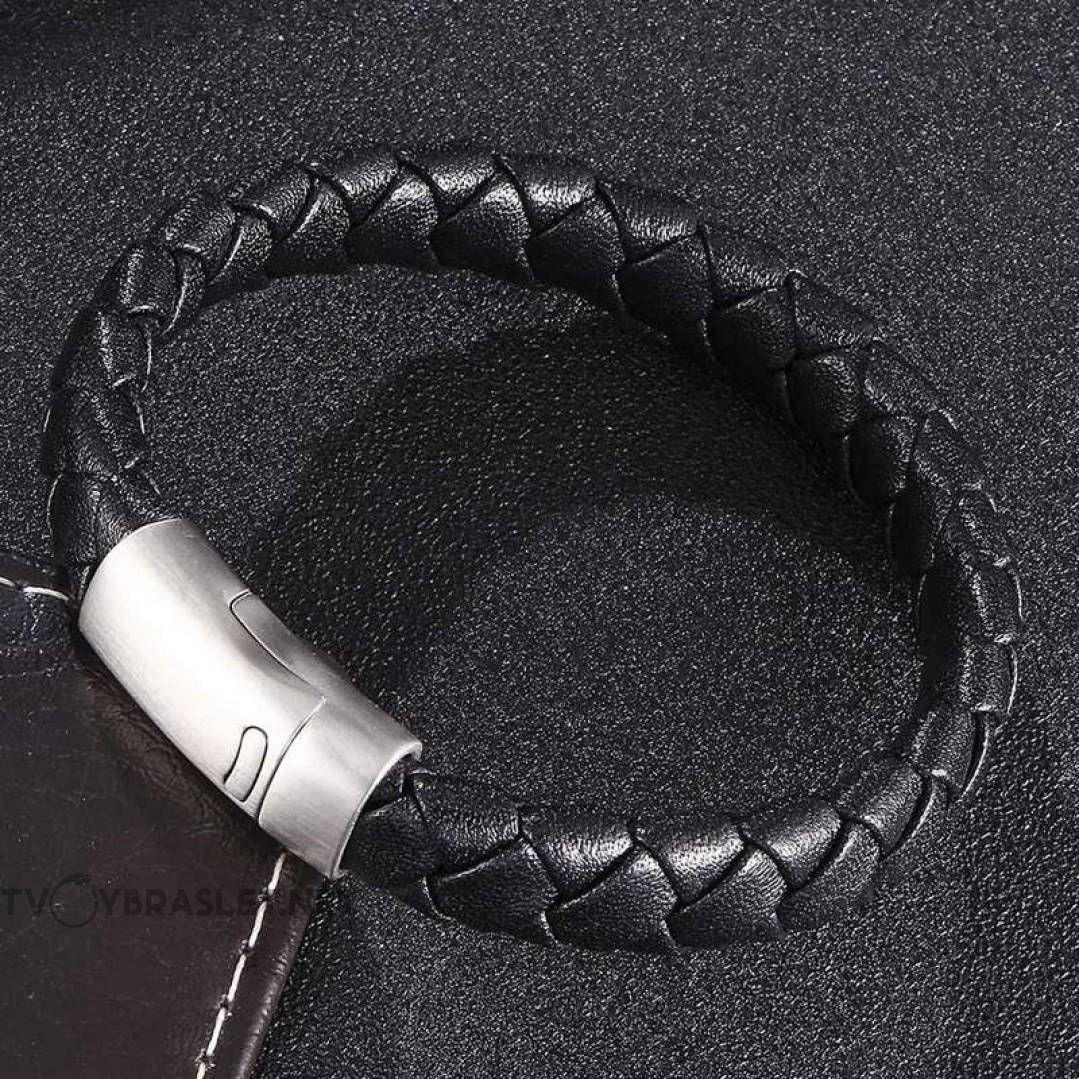 Браслет кожаный черный с магнитным стальным замком Твой Браслет Silver LTH321