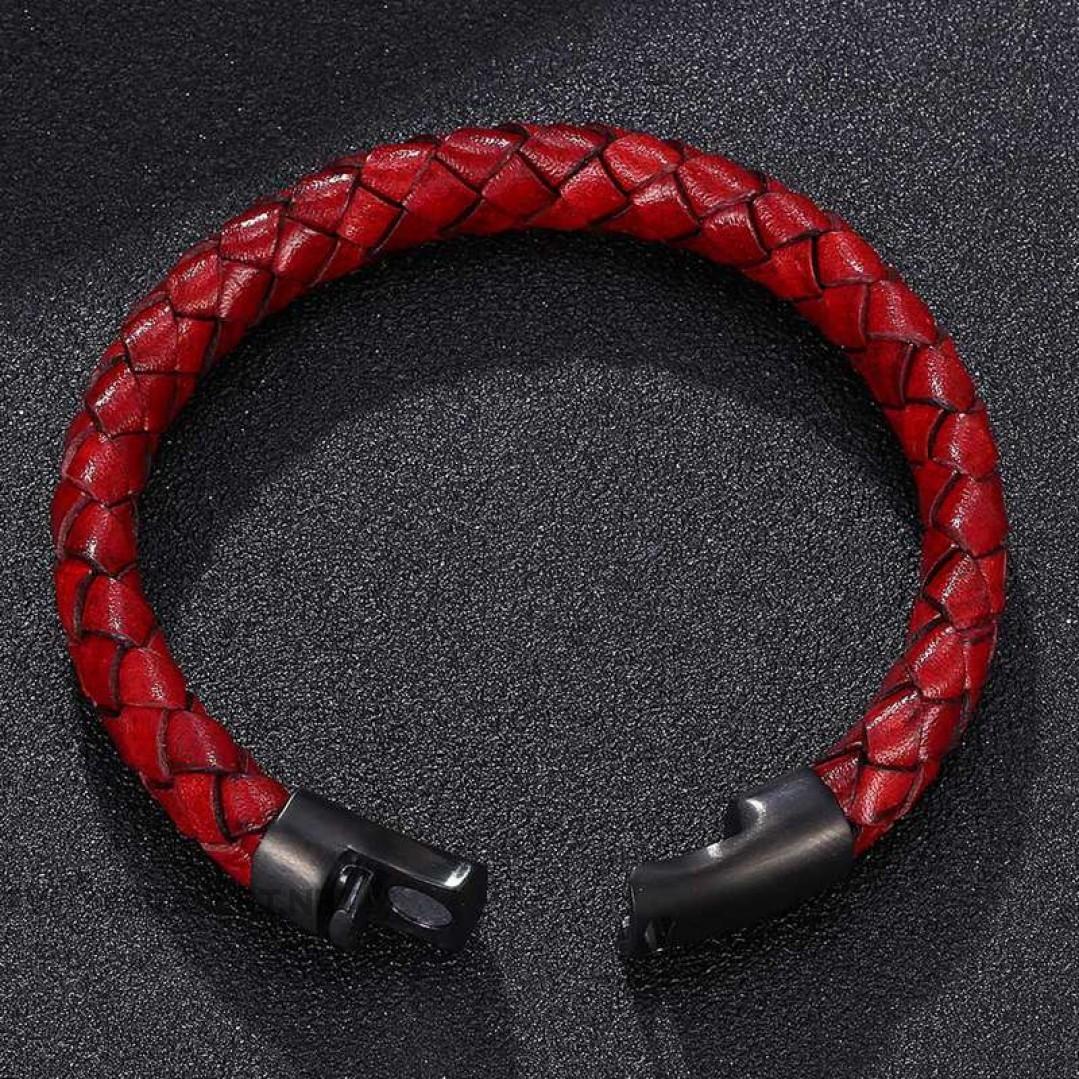 Браслет кожаный красный с магнитным замком Твой Браслет LTH323