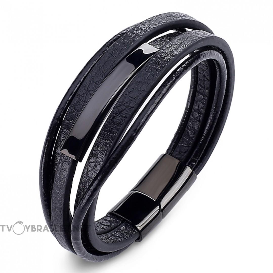 Браслет кожаный многослойный магнитный замок Black Твой Браслет LTH324