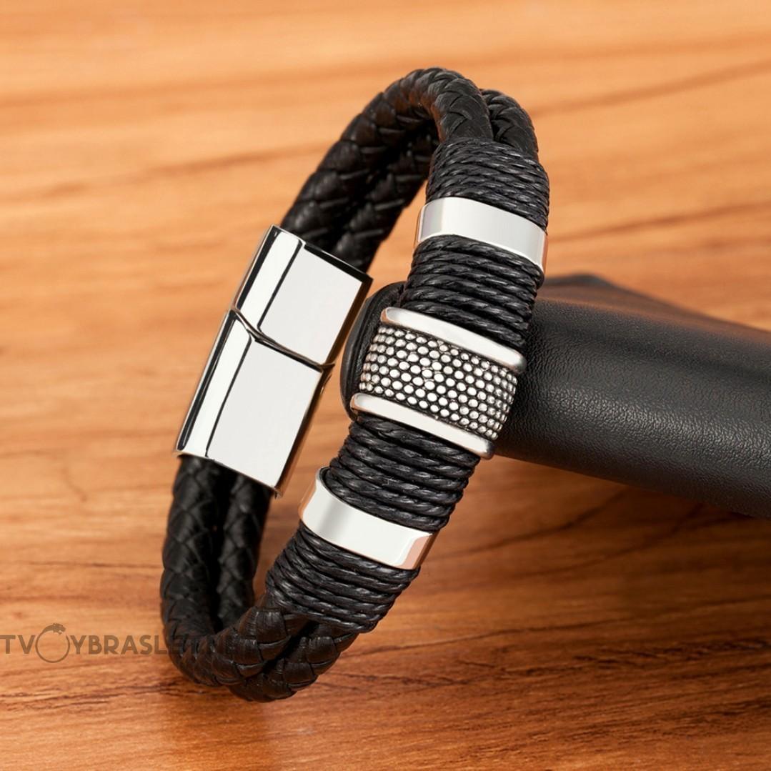 Браслет кожаный в два слоя с веревочным плетением черный Silver Твой Браслет LTH325