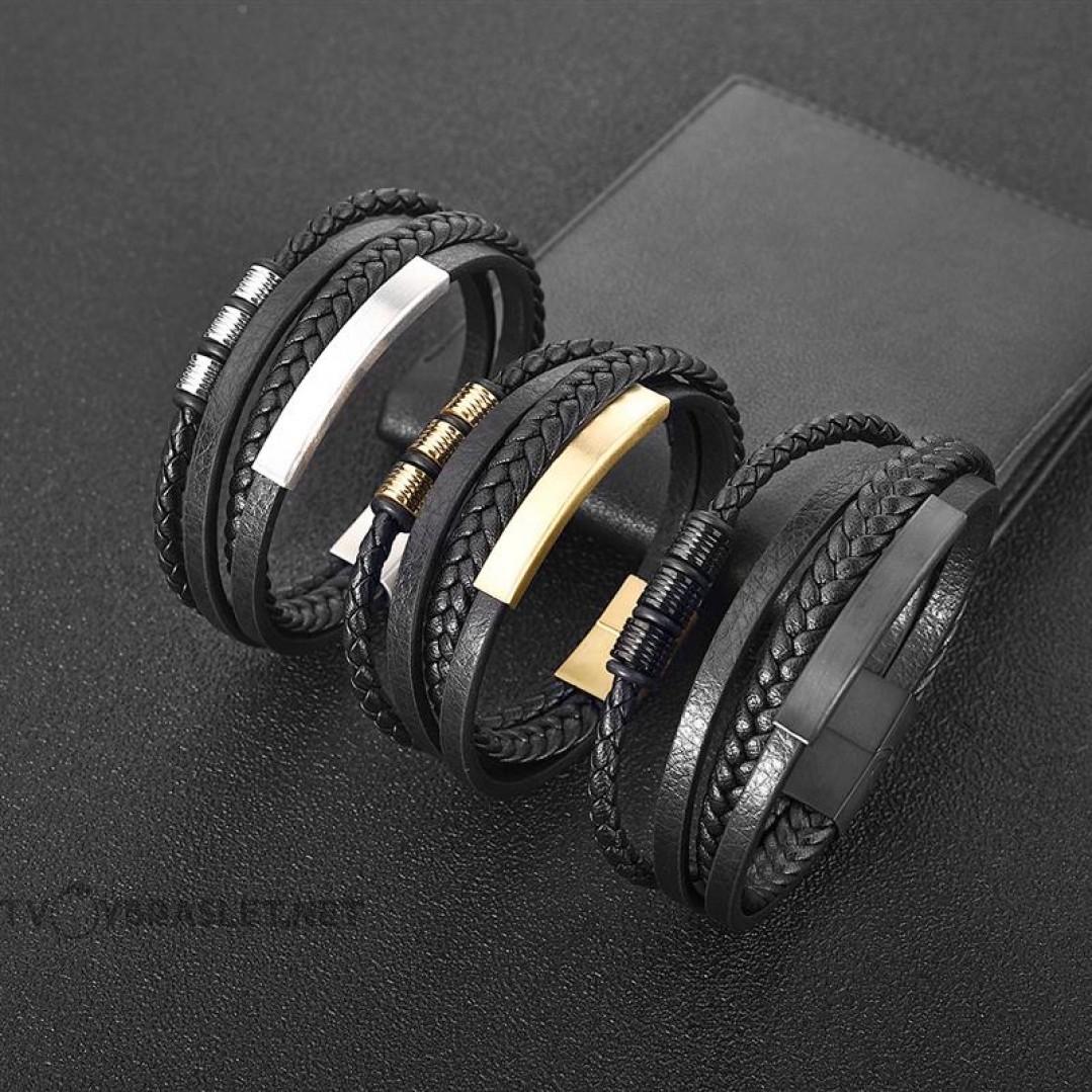 Браслет мужской кожаный в 4 слоя с магнитным замком Black Твой Браслет LTH328
