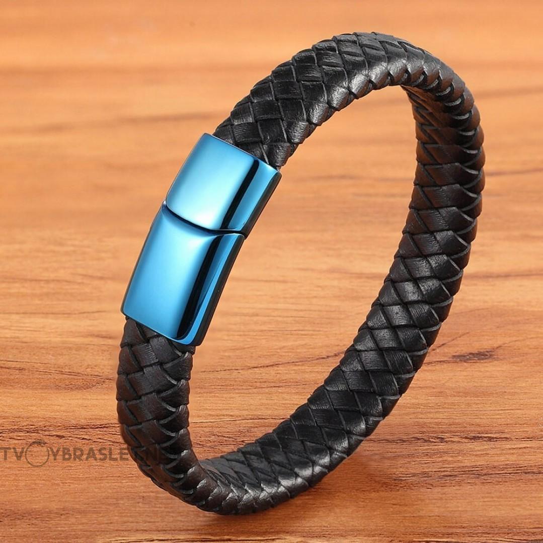 Браслет кожаный черный с синим зеркальным замком Твой Браслет LTH329