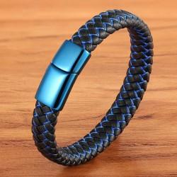 Браслет кожаный черный с вплетением синей нити и синим зеркальным замком Твой Браслет LTH330
