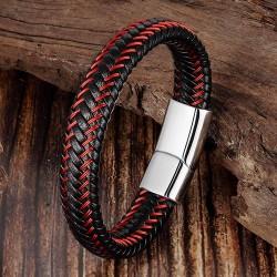Браслет кожаный черный с красным магнитный замок Silver Твой Браслет LTH335