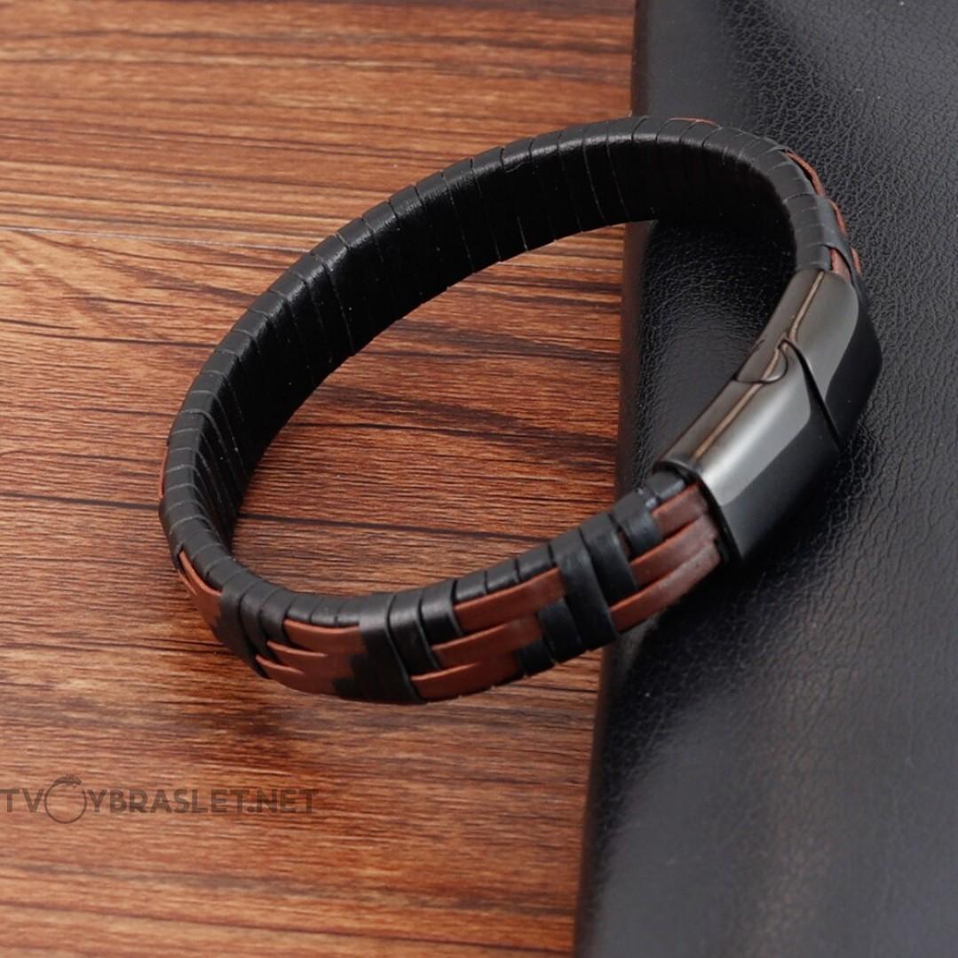 Браслет кожаный черный с коричневым магнитный замок Твой Браслет LTH336