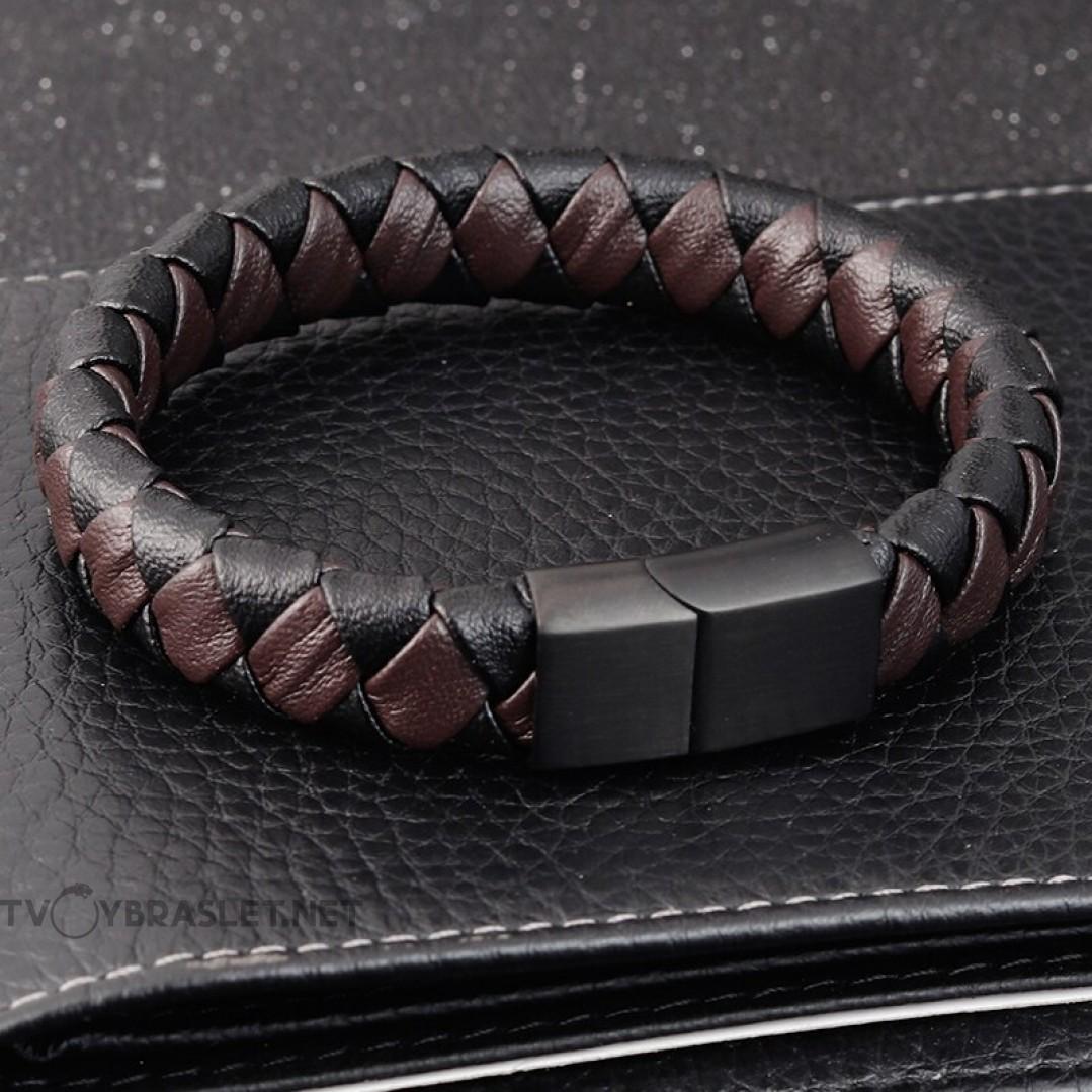 Браслет кожаный черный с коричневым магнитный замок Твой Браслет LTH337
