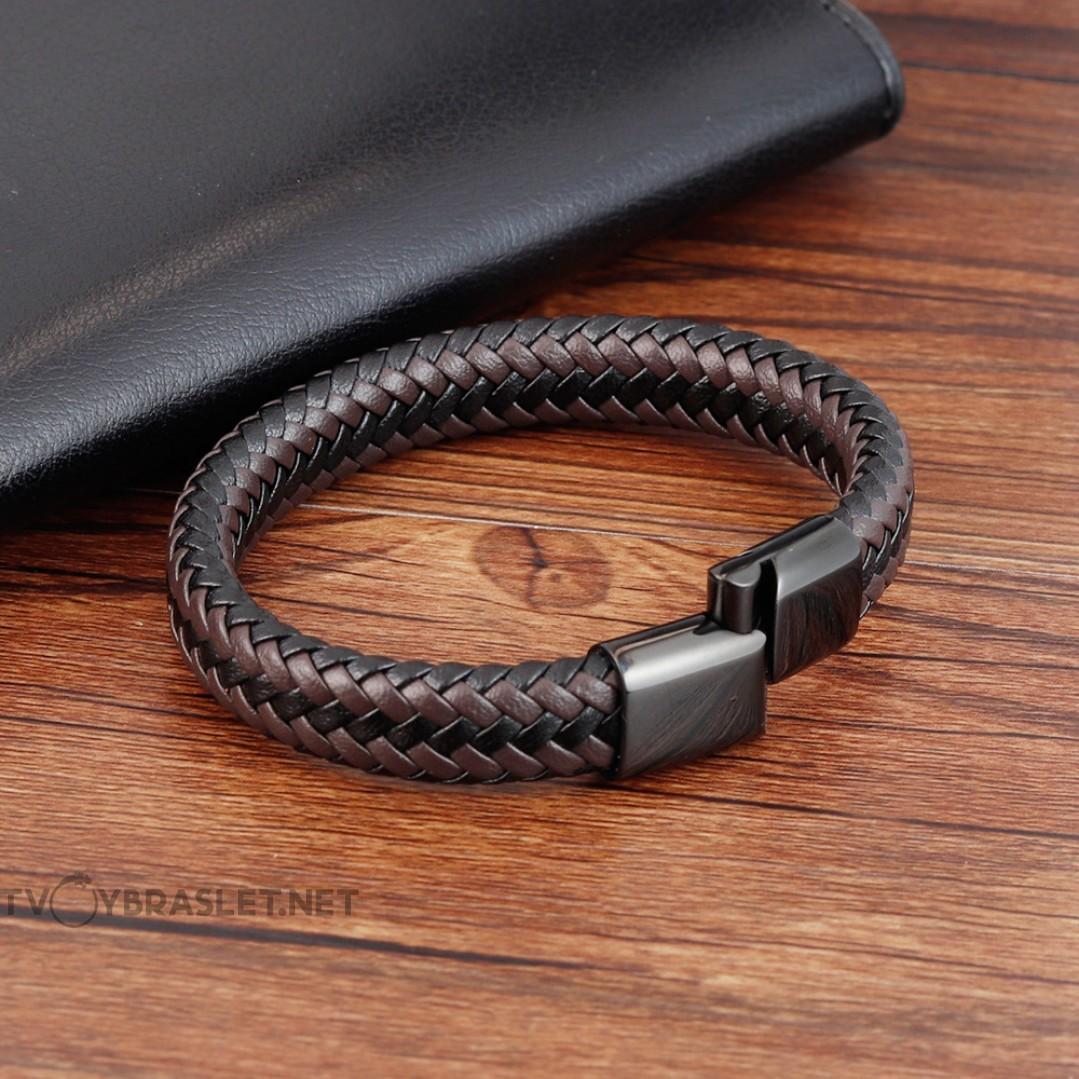Браслет кожаный черный с коричневым магнитный замок Твой Браслет LTH339
