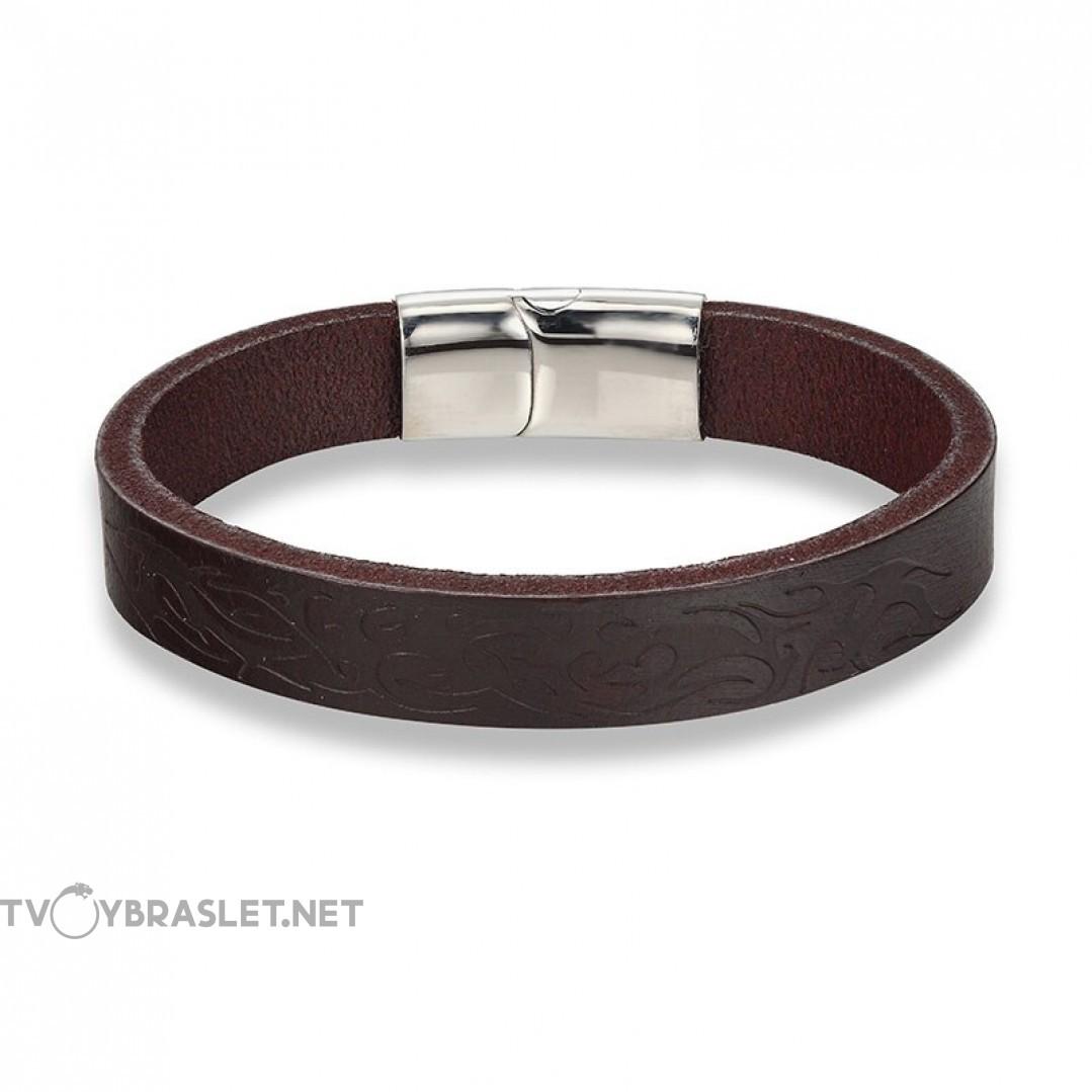 Браслет кожаный с узором и магнитным замком коричневый Твой браслет LTH341