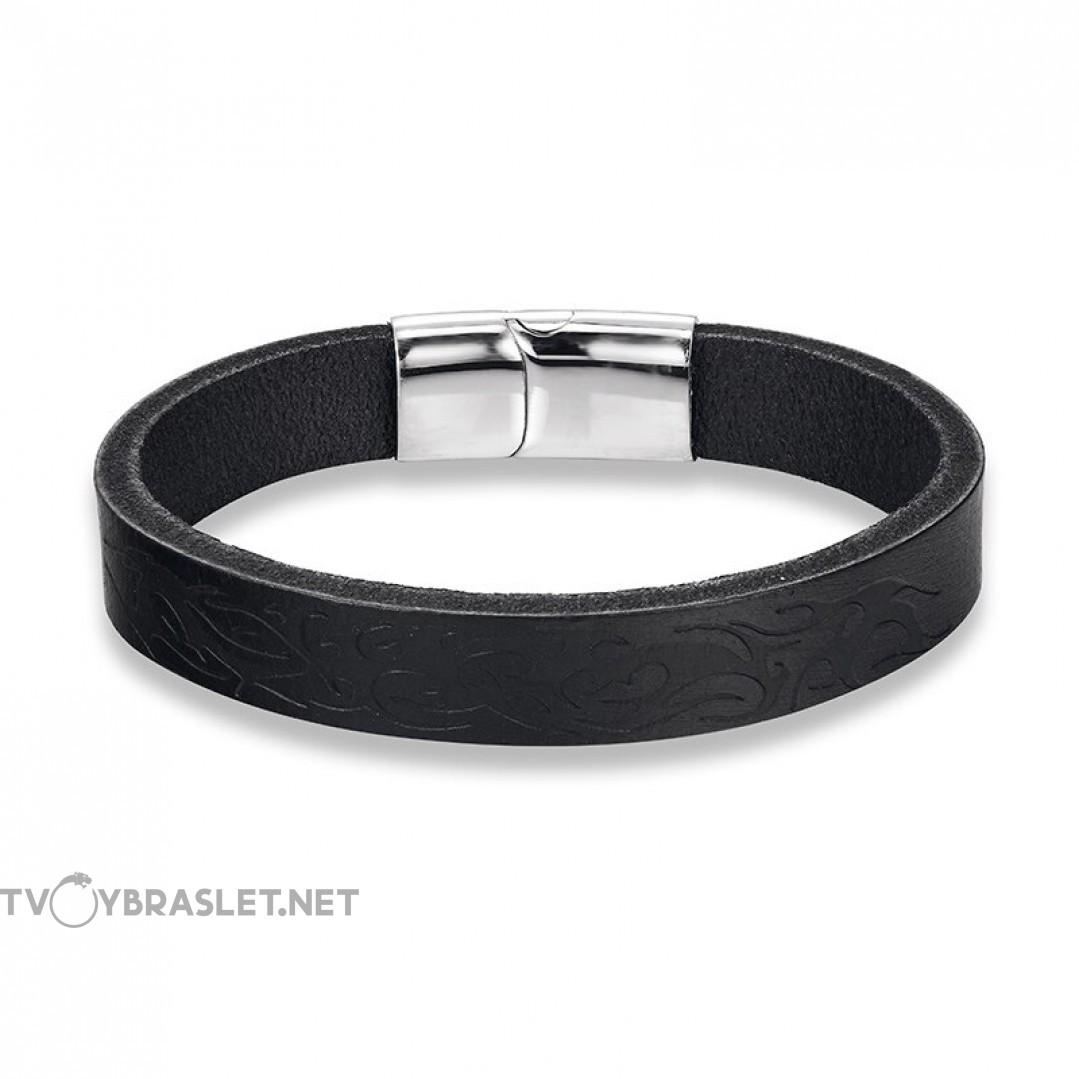 Браслет кожаный с узором и магнитным замком черный Твой браслет LTH342