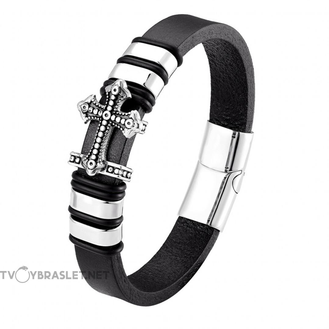 Браслет кожаный со стальным крестом черный Silver Твой Браслет LTH344
