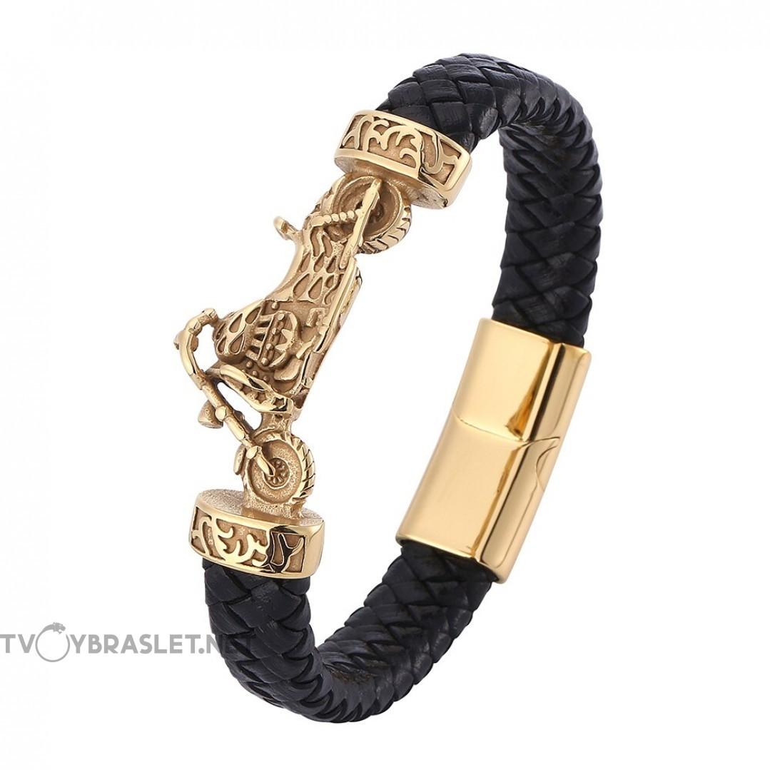 Браслет кожаный с байком черный магнитный замок Gold Твой Браслет Байк LTH345