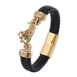 Браслет кожаный с байком черный магнитный замок Gold Твой Браслет LTH345