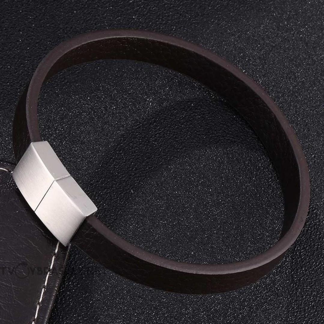 Браслет из натуральной кожи коричневый с магнитным замком Твой Браслет LTH347
