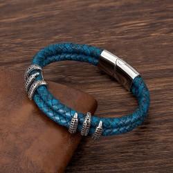 Браслет из кожи с когтями дракона синий Silver Твой Браслет LTH349