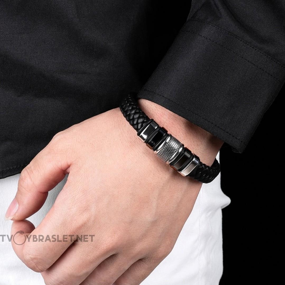 Браслет кожаный магнитный замок Black Silver Твой Браслет LTH354