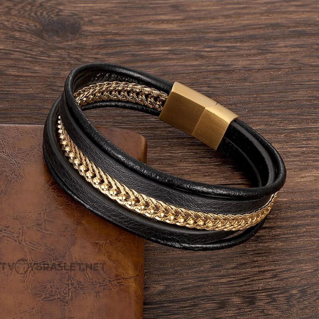 Браслет мужской из кожи и стали комбинированный Gold Твой Браслет LTH356