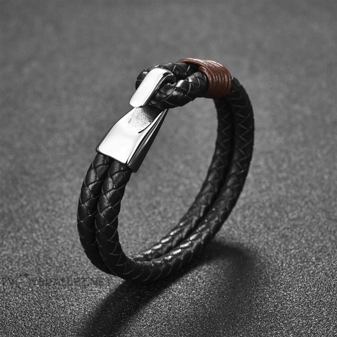 Браслет кожаный в два слоя черный застежка крюк сталь Твой Браслет LTH357