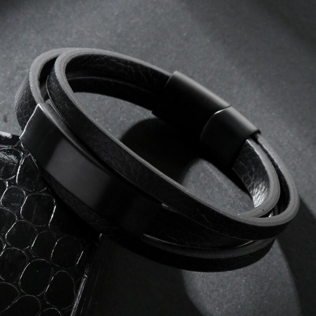 Браслет кожаный в три слоя с магнитным замком Твой Браслет LTH359