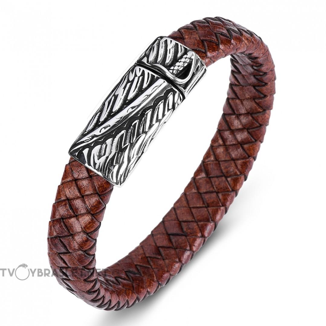 Браслет кожаный со стальным замком-пряжкой коричневый винтаж Твой Браслет LTH360