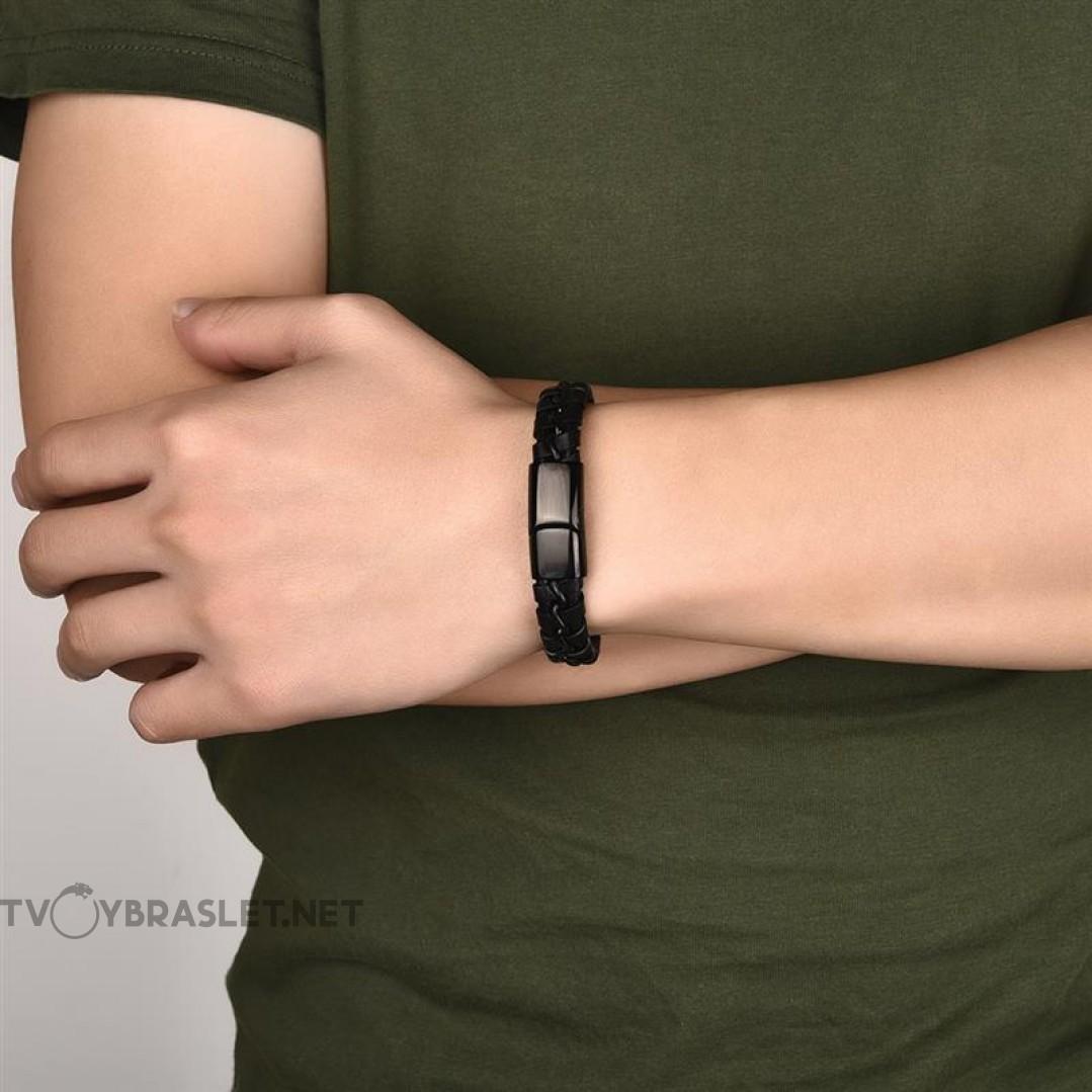 Браслет кожаный плетеный черный с магнитным замком Black Твой Браслет LTH361