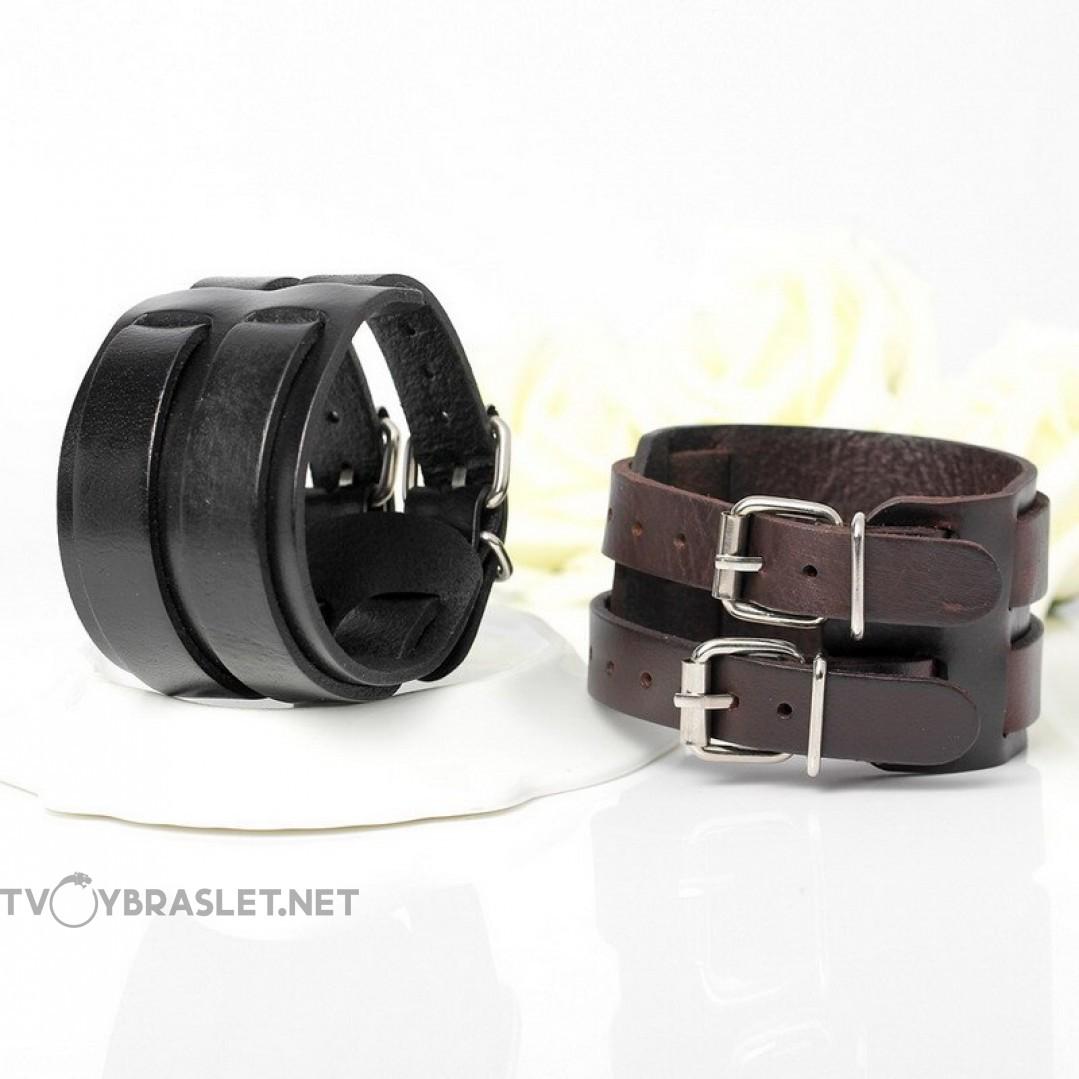 Браслет кожаный широкий 50 мм два ремня черный Твой Браслет LTH363