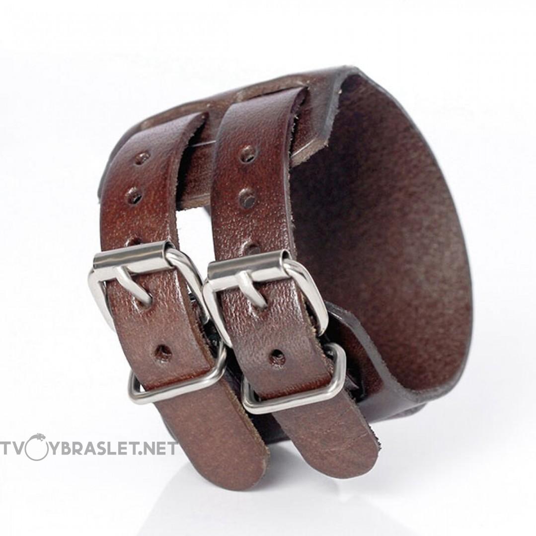 Браслет кожаный широкий 50 мм два ремня коричневый Твой Браслет LTH364