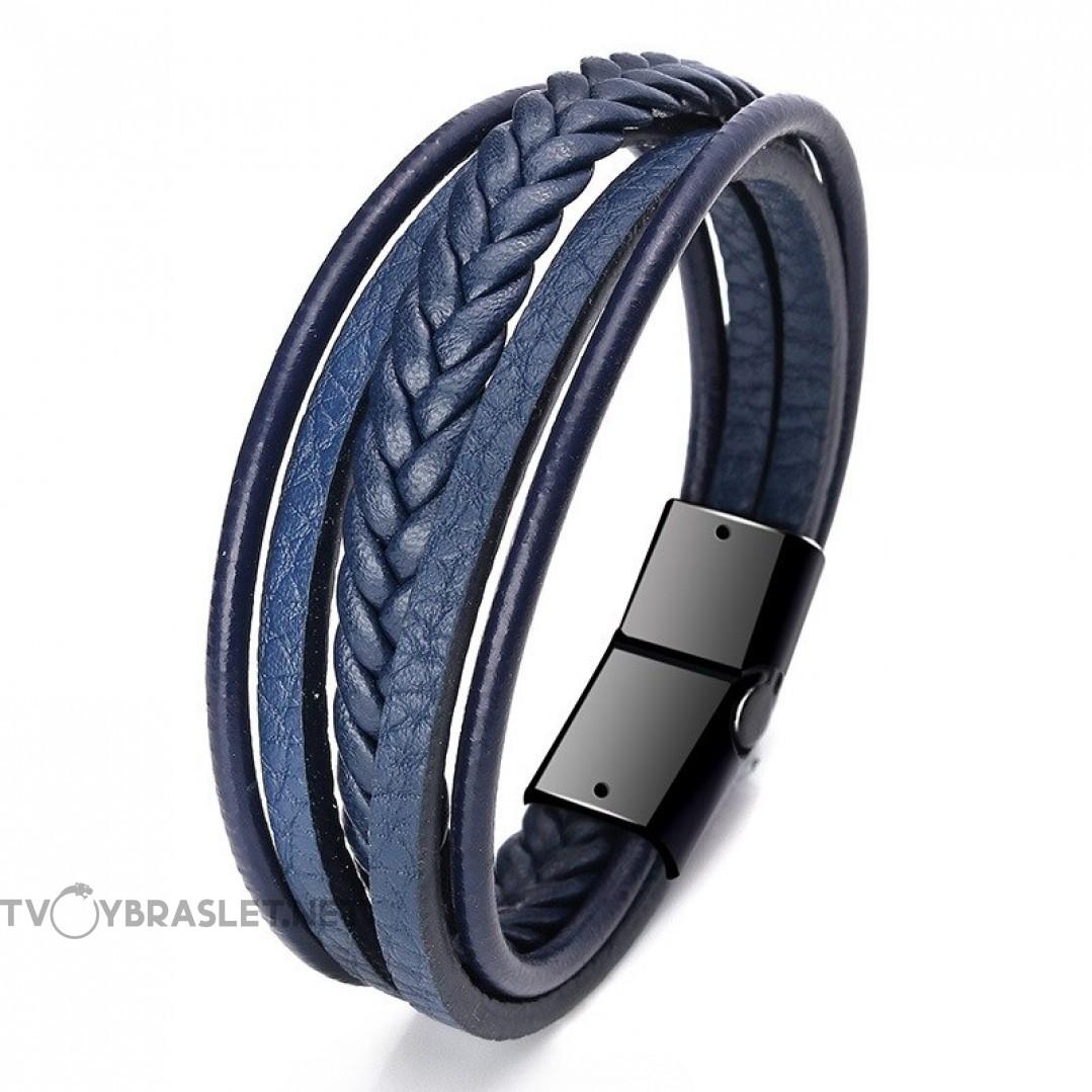 Браслет кожаный многослойный с магнитным замком синий Твой Браслет LTH365